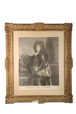 Louis XIV. Grande estampe titrée Louis le...