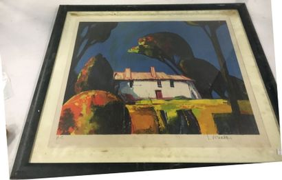 KHIATAN (?)  Lithographie  Paysage de Provence  50 x 60 cm