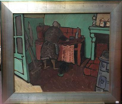 Huile sur toile  La ménagère dans sa cuisine...