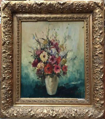 CRISTALLY (?)  Huile sur toile  Le bouquet...