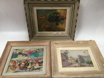 Ensemble de 3 tableaux :    R. COUVIN  Huile...