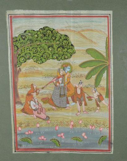 Peinture sur soie  Couple et servantes au...