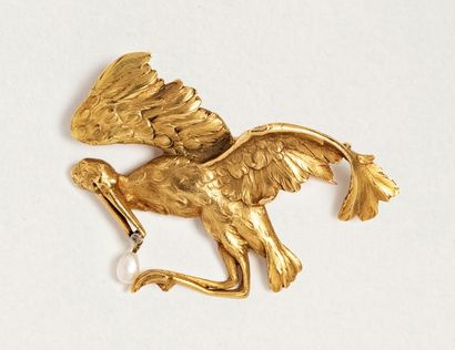 Broche-pendentif cigogne en or jaune 18k...