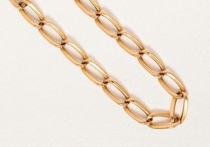 Bracelet maille gourmette longue en or jaune...