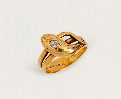 Bague serpent en or jaune 18k (750 millièmes)...