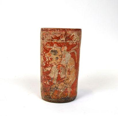 Vase cylindre présentant le dieu jaguar dressé,...