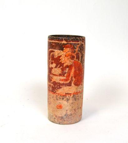 Vase cylindre présentant deux dignitaires...