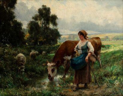 Julien DUPRE (Paris 1851-1910) Bergère avec...