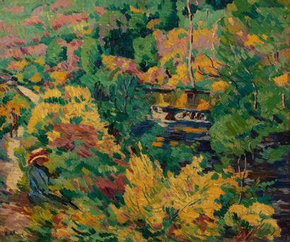 Eugène ALLUAUD (Saint Martin Terressus 1866 - Crozant 1947) Bords de rivière à l'automne...