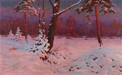 Jan GRUBINSKI (1874 - 1945) Neige le soir Huile sur toile 73 x 118,5 cm Signé en...