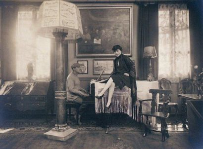 Paul Cesar HELLEU (Vannes 1859-Paris 1927) Portrait de femme Crayon noir sanguine...