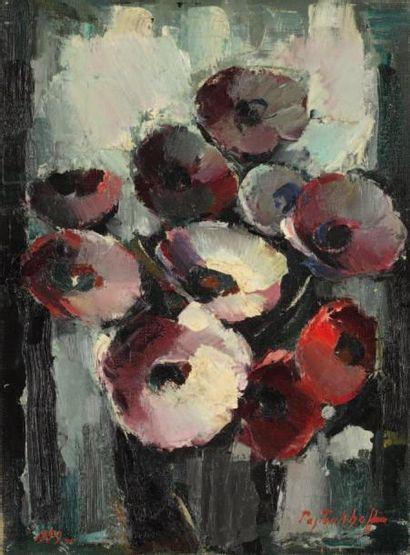 Boris PASTOUKHOFF (1894 - Paris 1974) Bouquet d'anémones Huile sur toile 40 x 30...