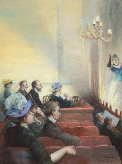 Charles MAURIN (Le Puy 1856 - Paris 1914) Petit théâtre Pastel 60,5 x 45 cm à la...