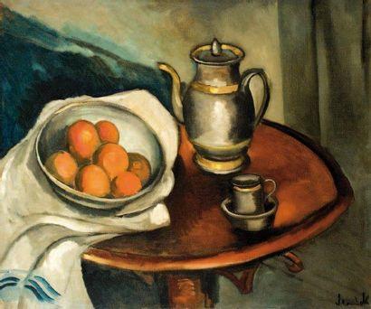Maurice de VLAMINCK (Paris 1876-Rueil La Gadelière 1858) Les oranges et la cafetière...