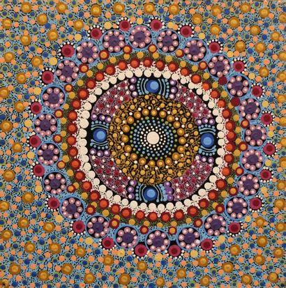 Vanessa Inkamala (1968 - ) Spirit Women Acrylique sur toile - 40 x 40 cm Groupe...