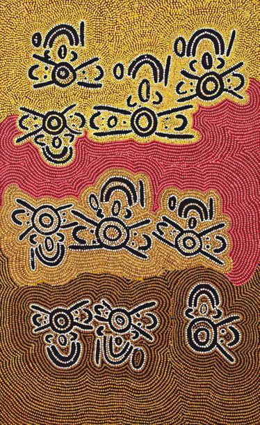 Long Maggie White Nakamarra (c. 1930 - ) Lukarrara Jukurrpa - Seed Grass Dreaming...