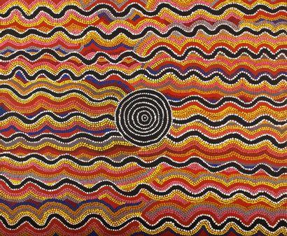 Molly Peterson Ngarlkirdi Jukurrpa - Witchetty Grub Dreaming, 1987 Acrylique sur...