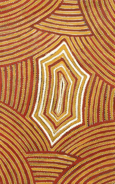 Mary Morton Kemarre (c. 1925 - ) Awelye, Ceremonial Body Paint Design Acrylique...