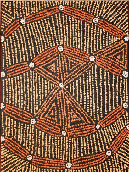 Katrina Giles Napaltjarri Tjukurla Acrylique sur toile - 61 x 46 cm Groupes Ngaatjatjarra,...