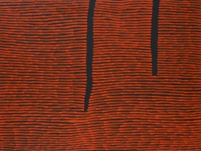 Ronnie Tjampitjinpa (c.1943 - ) Fire Dreaming Acrylique sur toile - 120 x 90 cm...
