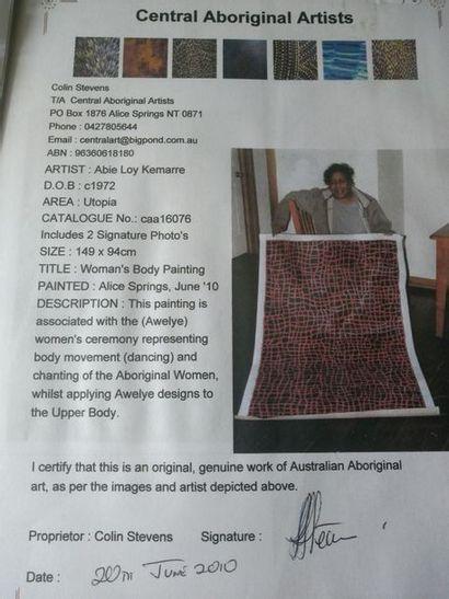 Abie Loy Kemarre (1972 - ) Woman's body painting, juin 2010 Acrylique sur toile...
