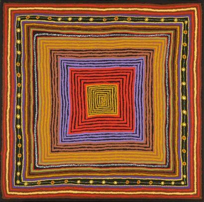 Amanyi Dora Haggie (c. 1938 - ) « Minyama Kutjara », 2010 Acrylique sur toile -...