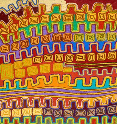 Patrick Olodoodi Tjungurrayi (c. 1940 - ) Cycle Tingari, 2013 Acrylique sur toile...