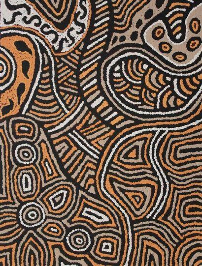 Nerida Martin (Giles) Napanangka (c. 1967 - ) Tjukurla Acrylique sur toile - 61...