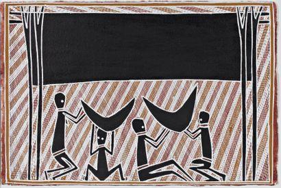 George Milpurrurru (1934 - 1998) Pigments naturels et acrylique sur papier-...
