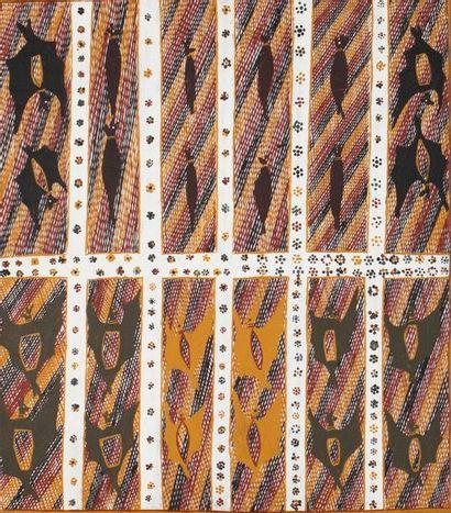 Charlie Numunawuy Flying Fox Pigments naturels et acrylique sur toile - 57 x 50...