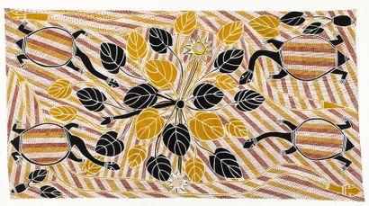 Roy (Malibirr) Burrunyula (c. 1955 - ) Ganalbingu story - Turtle Acrylique sur toile...