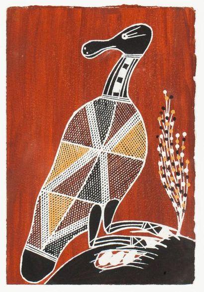 Trevor Nganjmirra Spoonbill, 1998 Pigments naturels et acrylique sur papier - 30,5...