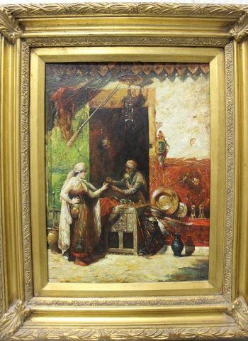 Ecole ORIENTALISTE du XX eme siècle Le marchand de bibelots Huile sur panneau, une...