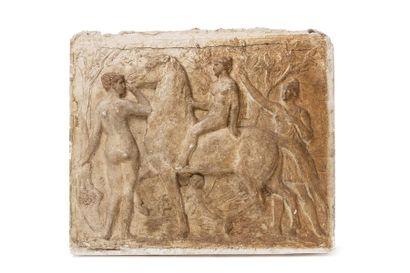 Henri CROS (1840 - 1907) Bas relief en plâtre...