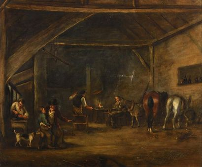 Attribué à Carlo RANDANINI (? - 1884) La forge Sur sa toile d'origine 64 x 76,5...