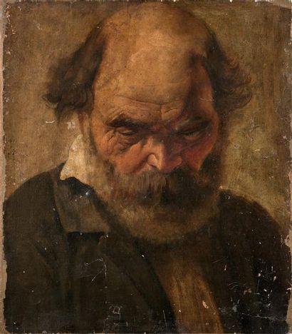 Ecole ITALIENNE du début du XIXème siècle Figure d'homme barbu Toile 38,5 x 33,5...