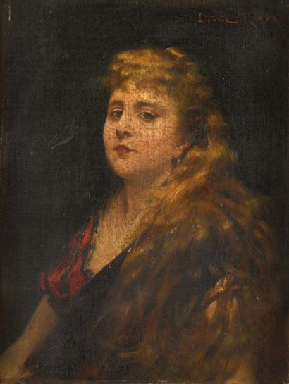 Lionel ROYER (Château du Loir 1852 - Neuilly 1926) Portrait de jeune femme Sur sa...