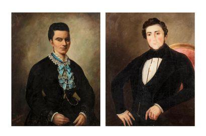 Ecole FRANCAISE du XIXème siècle Portrait d'homme / portrait de femme Paire de toiles...