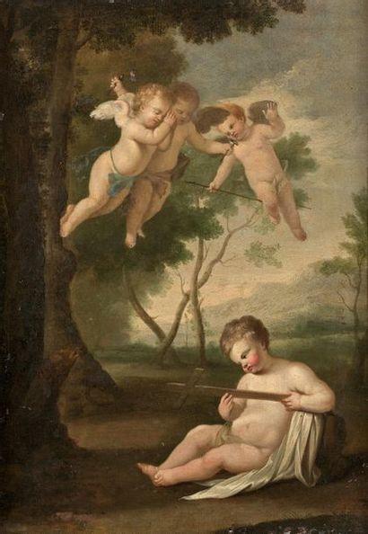 Ecole FRANCAISE vers 1820 Jésus enfant contemplant les instruments de la Passion...
