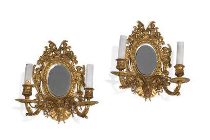 Paire d'appliques à fond de miroir inscrit...
