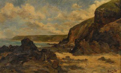 Emile HIS (Actif au XIXème siècle) Rochers...