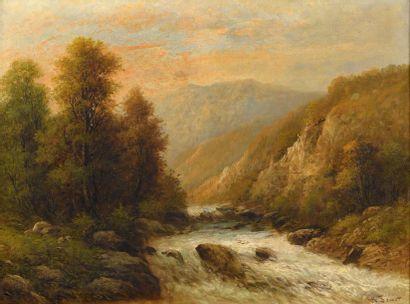 Ch. SONNET (Actif au XIXème siècle) Paysage...