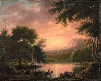 Ecole ALLEMANDE vers 1800 Berger et son troupeau...