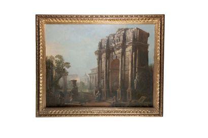 Ecole ITALIENNE du XIXème siècle Vue de l'arc de Constantin à Rome Toile 98 x 127...