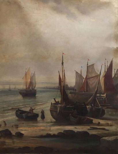 Ecole FRANCAISE du XIXème siècle Marine Huile...
