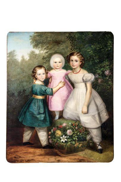 Ecole ITALIENNE vers 1830 Portrait de trois...
