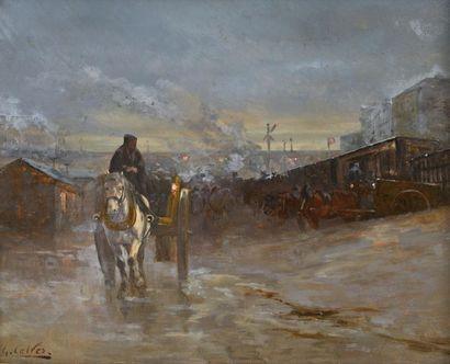 Georges CALVES (Paris 1848 – 1924) Scène de rue Panneau 37,5 x 46 cm Signé en bas...