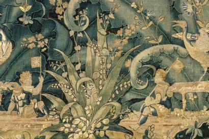 AUDENARDE Tapisserie feuilles de choux en laine et soie XVIème siècle H : 239 -...
