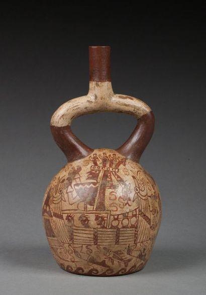 Vase étrier agrémenté d'un décor peint d'une...