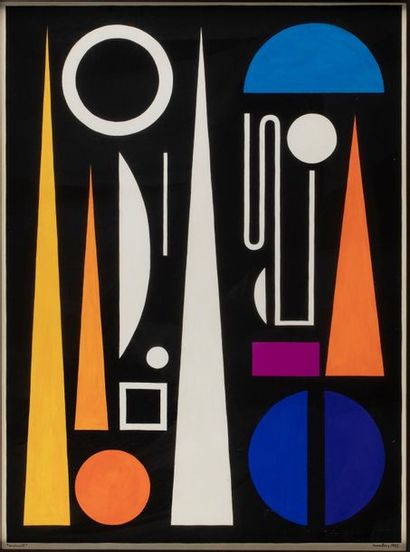 Auguste HERBIN (1882-1960) Minuit, 1953 Gouache...